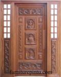 Pintu Ukir Motif Gajah Mada