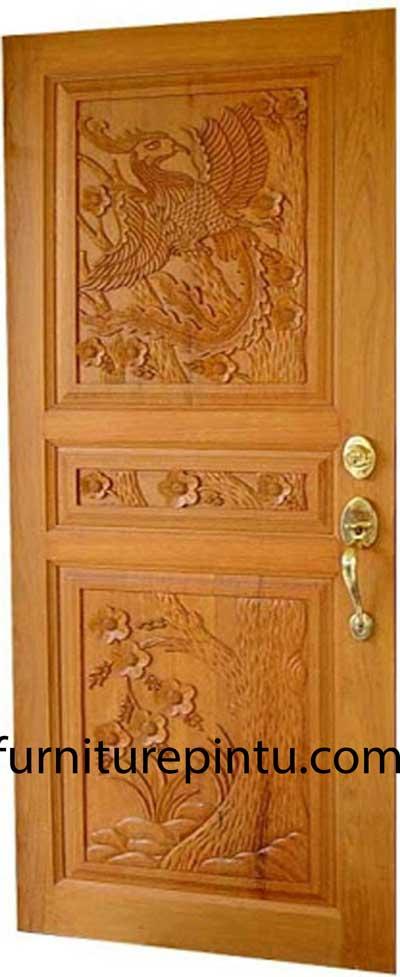 Daun Pintu Ukir Motif Burung Merak